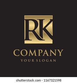 RK initial letters looping linked box elegant logo golden black background