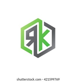 RK initial letters looping linked hexagon logo black gray green