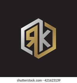 RK initial letters looping linked hexagon elegant logo golden silver black background