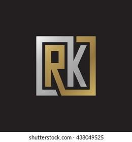 RK initial letters looping linked square elegant logo golden silver black background