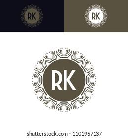 RK initial logo. Luxury ornament crown logo