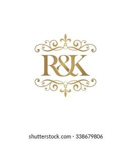 R&K Initial logo. Ornament ampersand monogram golden logo