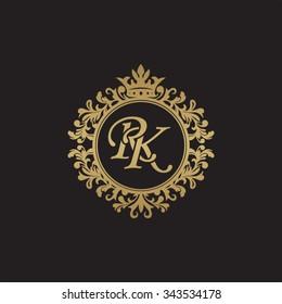 RK initial luxury ornament monogram logo