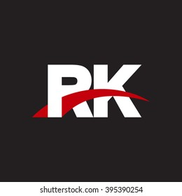 RK initial overlapping swoosh letter logo white red black background