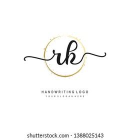 RK initial signature logo. handwriting logo template vector,