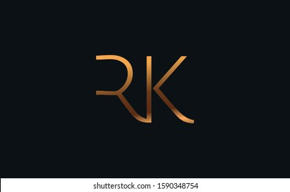 RK KR alphabet abstract letter logo design with k and r or r and k