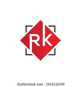 RK letter logo design with shape