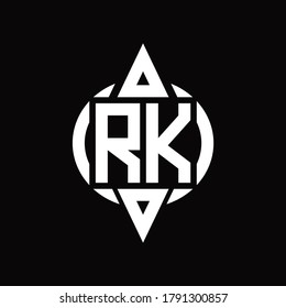 RK Logo with circle rounded combine triangle top and bottom side design template