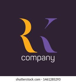 RK logo design. Monogram. Letters R and K. Company logo.