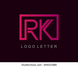 RK Logo letter design vector with box