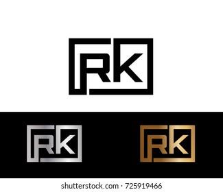 RK Logo. Letter Design Vector with Black Gold Silver Colors