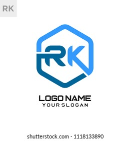 RK logo letter initial, Abstract polygonal Background Logo,