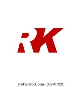RK negative space letter logo red