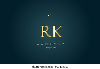 rk r k  gold golden luxury product metal metallic alphabet company letter logo design vector icon template green background