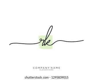 RK R K Initial handwriting logo template