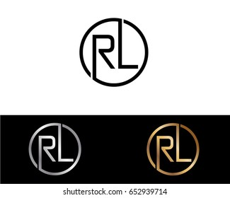 Rl Logo. Letter Design Vector with Red and Black Gold Silver Colors