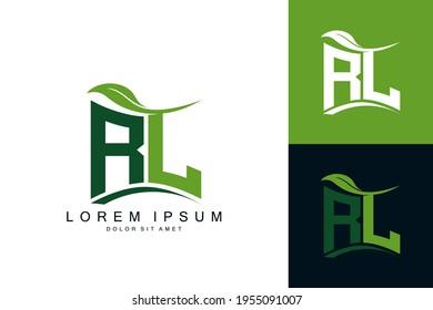 RL logo monogram with green leaf nature organic bio curved shape premium vector design template