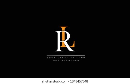 RL LR abstract vector logo monogram template