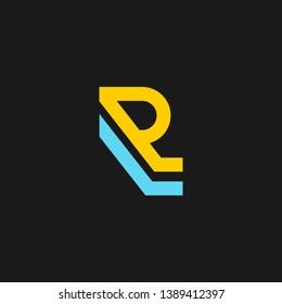 RL or R L letter alphabet logo design in vector format.