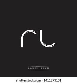 rl r l logo Initial Letter Split Lowercase Modern Isolated on Black White