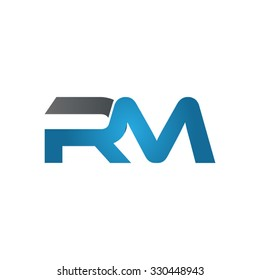 RM company linked letter logo blue