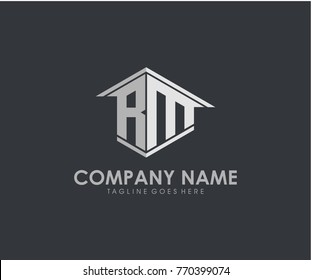 RM initial construction.real estate.home letter logo design
