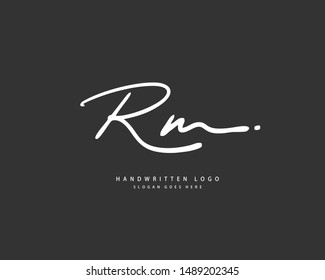 RM Initial handwriting or handwritten logo for identity. Logo with hand drawn style.