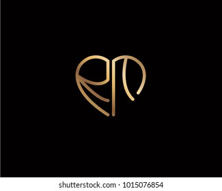 RM initial heart shape gold colored logo