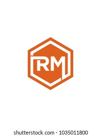 RM initial hexagon letter logo template vector