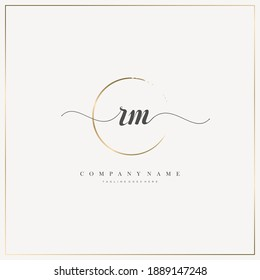 RM Initial Letter handwriting logo hand drawn template vector, logo for beauty, cosmetics, wedding, fashion and business, and other