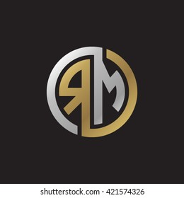 RM initial letters looping linked circle elegant logo golden silver black background