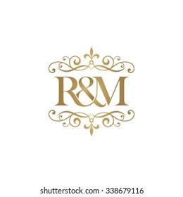 R&M Initial logo. Ornament ampersand monogram golden logo