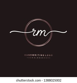 RM initial signature logo. handwriting logo template vector,