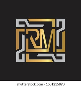 RM Letter logo initial capital monogram with abstract ornament