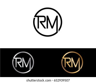Rm Logo. Letter Design Vector with Red and Black Gold Silver Colors