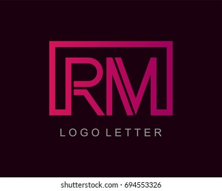 RM Logo letter design vector with box