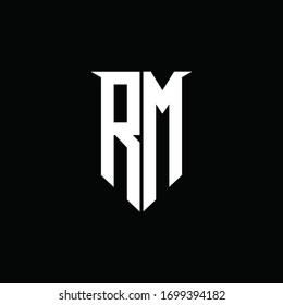 RM logo monogram with emblem shield style design template