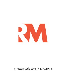 RM Logo. Vector Graphic Branding Letter Element. White Background