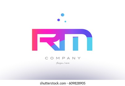 rm r m  creative pink purple blue modern dots creative alphabet gradient company letter logo design vector icon template