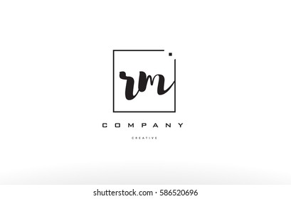 rm r m hand writing written black white alphabet company letter logo square background small lowercase design creative vector icon template
