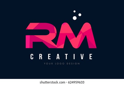 RM R M Purple Letter Logo Design with Low Poly Pink Triangles Concept