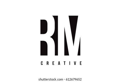 RM R M White Letter Logo Design with Black Square Vector Illustration Template.