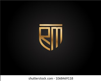 RM shield shape Letter Design in gold color