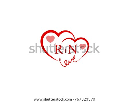 rn initial heart love logo template stock vector royalty free