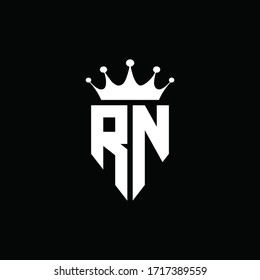 RN logo monogram emblem style with crown shape design template