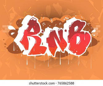 rnb dance music party illustration in graffiti style, lettering logo, vector.Typography for poster,t-shirt or stickers