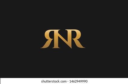 rnr, nr ,rn , rr , r logo initial letter design in gold color template designed  vector format