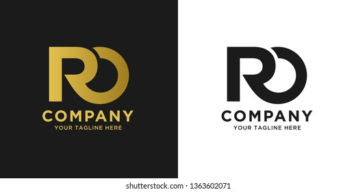 RO elegant logo template in gold color, vector file .eps 10, text and color is easy to edit