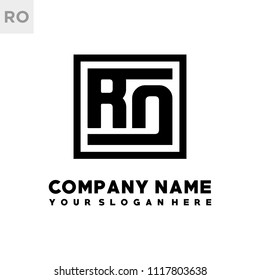 RO initial box letter logo template vector