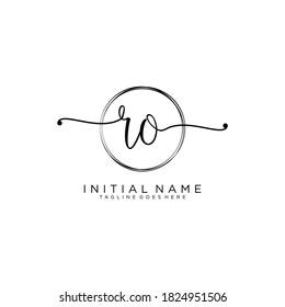 RO Initial handwriting logo vector